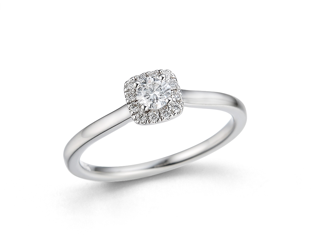 0.22ct 18ct White Gold Brilliant Cut Diamond Halo Design Engagement Ring