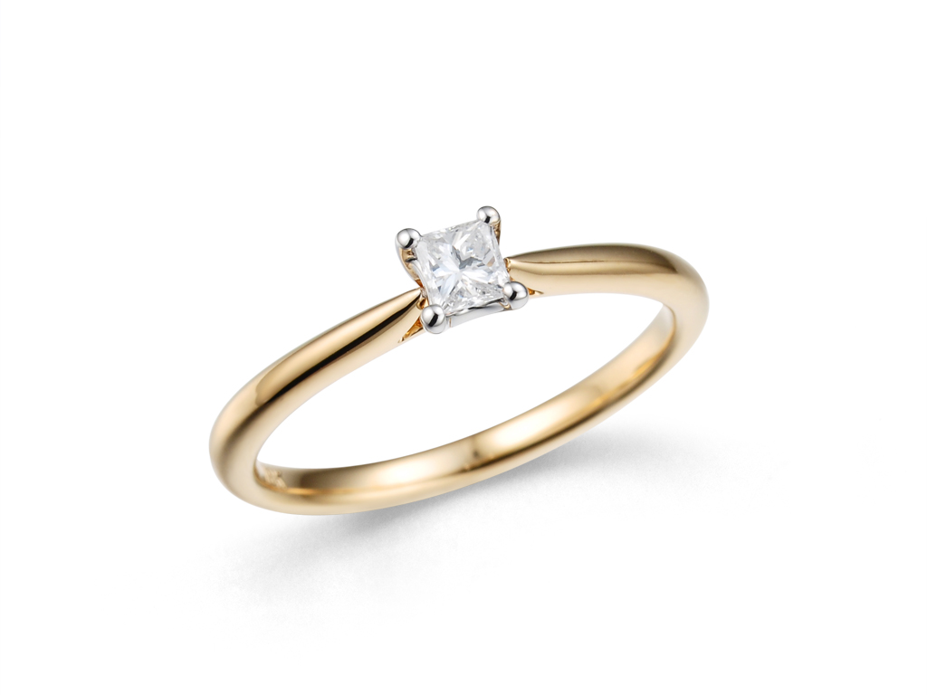 0.17ct Princess Cut Diamond Solitaire Ring-0