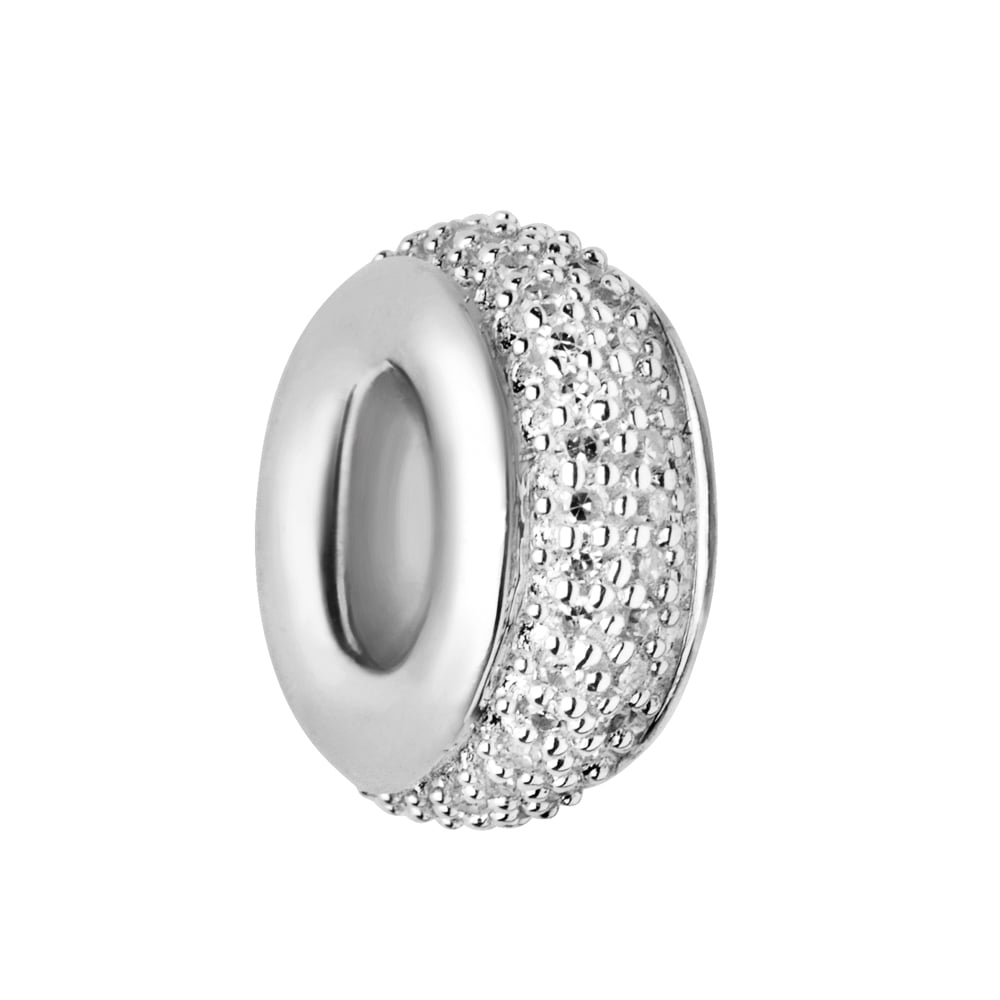 Links of London Pave Rondel Sterling Silver & White Diamond Pave Bead-0
