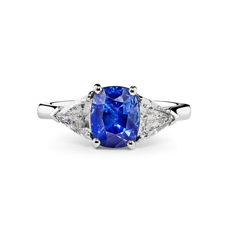Cushion Cut Sapphire And Trilliant Cut Diamond 3 Stone Ring