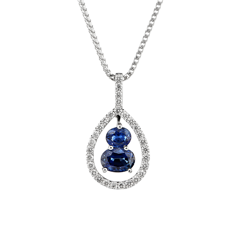 18ct Sapphire and Diamond Pear Shaped Pendant-0