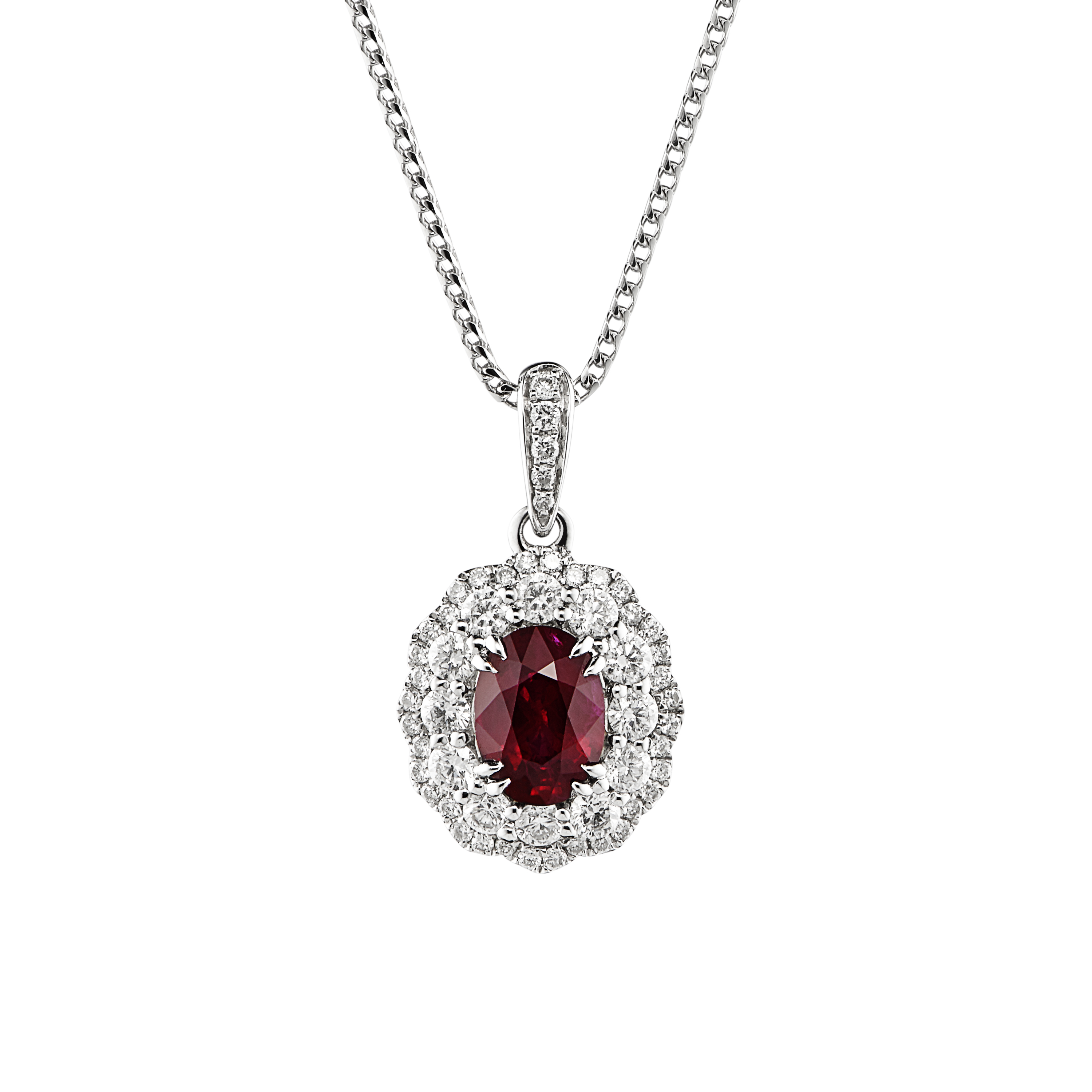 18ct White Gold Ruby and Diamond Pendant-0