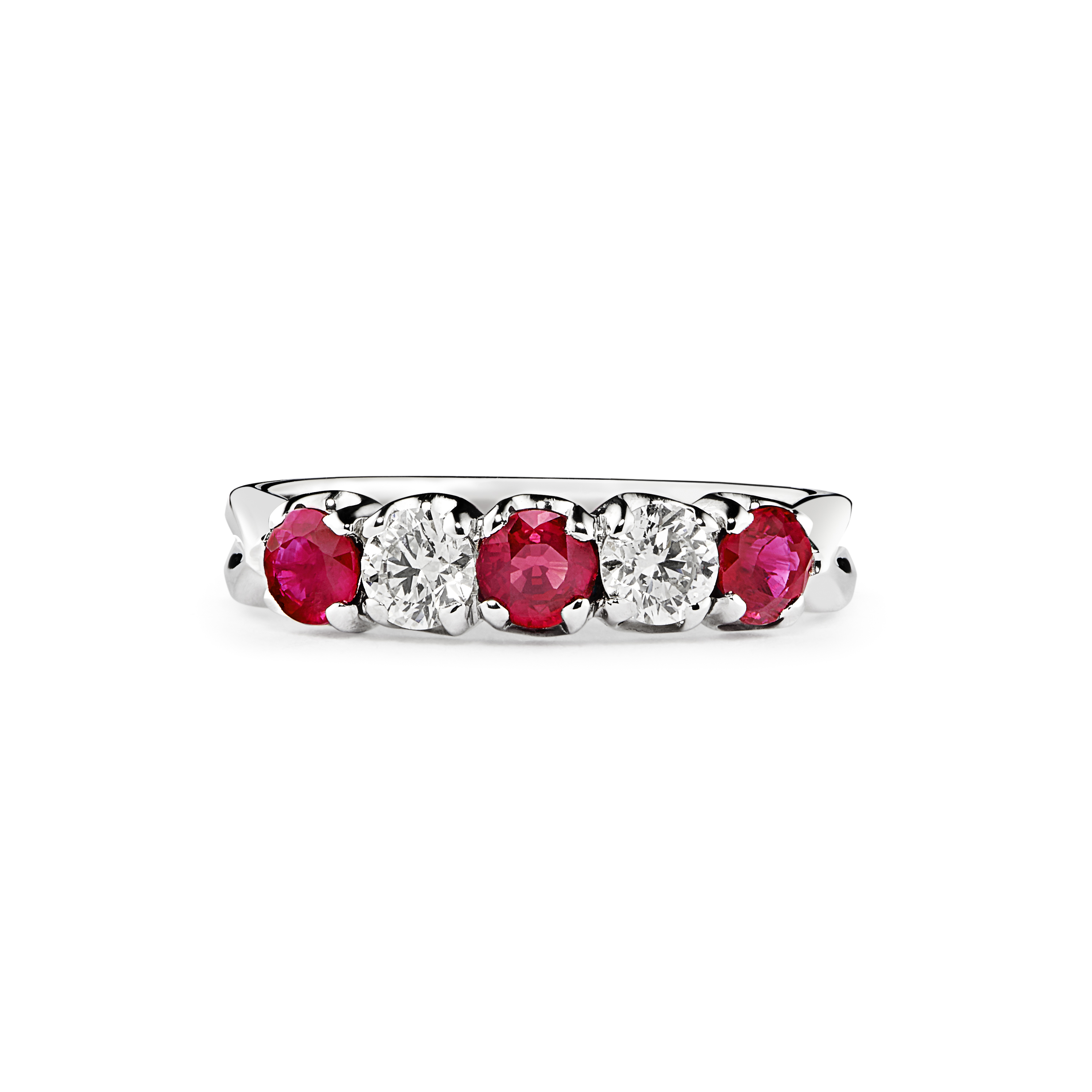 18ct Gold Ruby and Diamond 5 Stone Ring