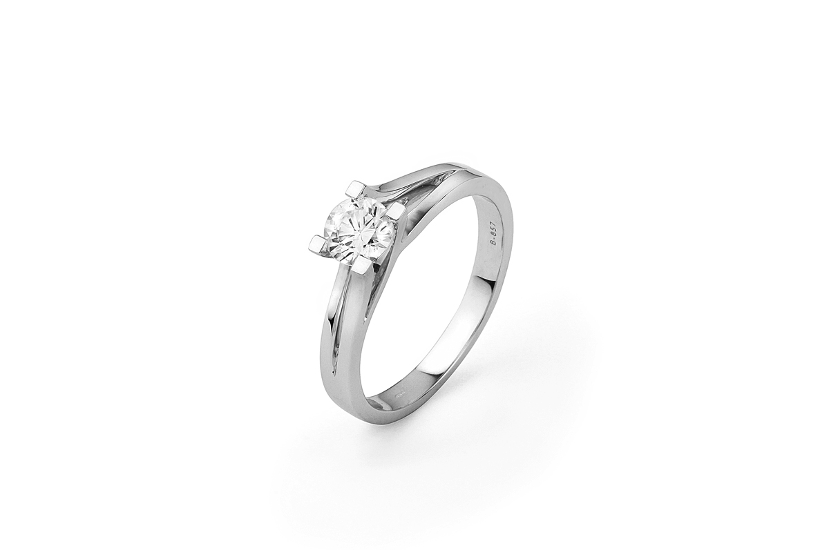 0.53ct Brilliant Cut Diamond Solitaire Engagement Ring With Split Shoulder