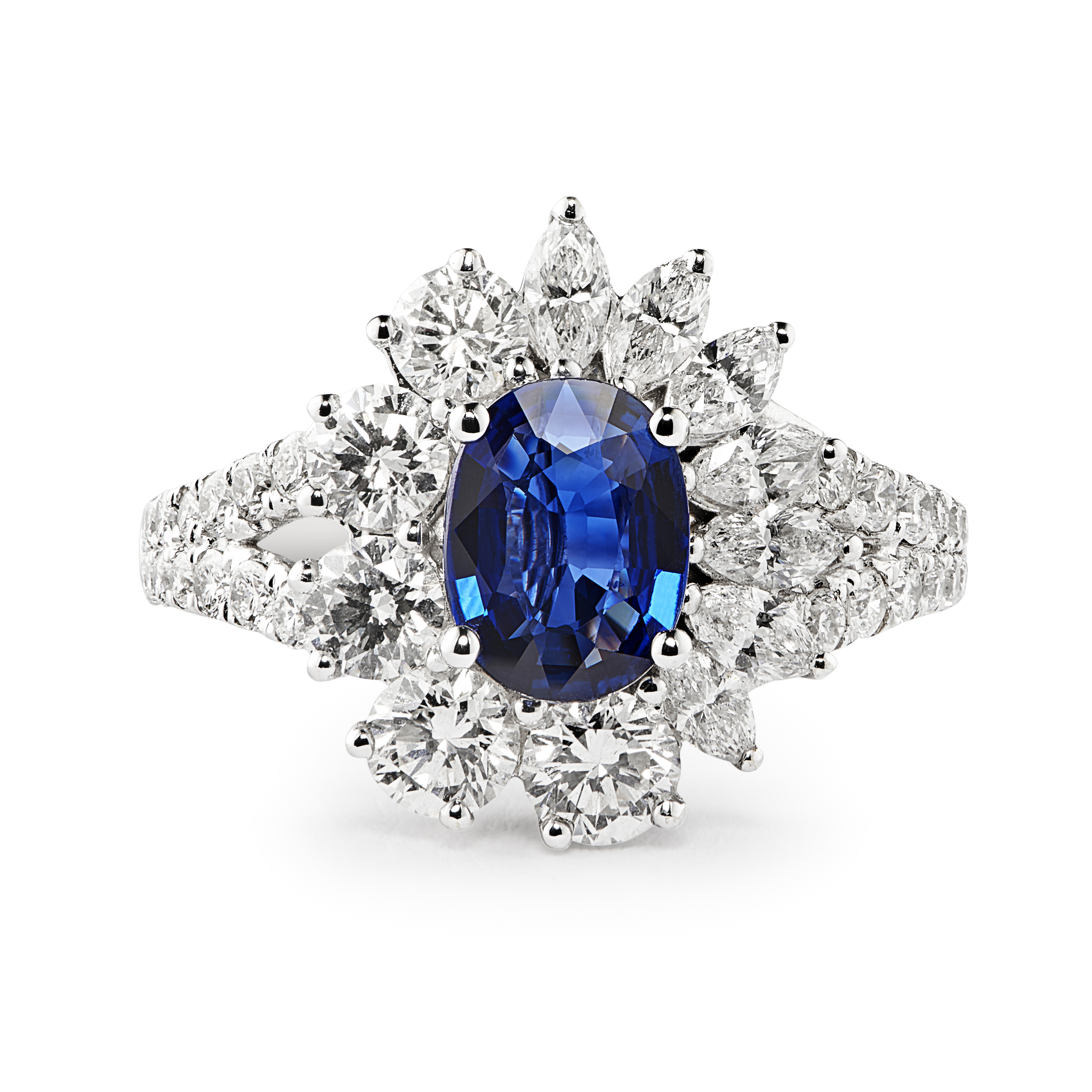 Striking 18ct White Gold Sapphire and Diamond Cluster Ring-0