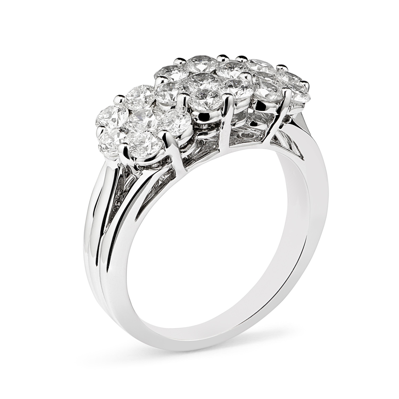 18ct White Gold Diamond Triple Cluster Ring