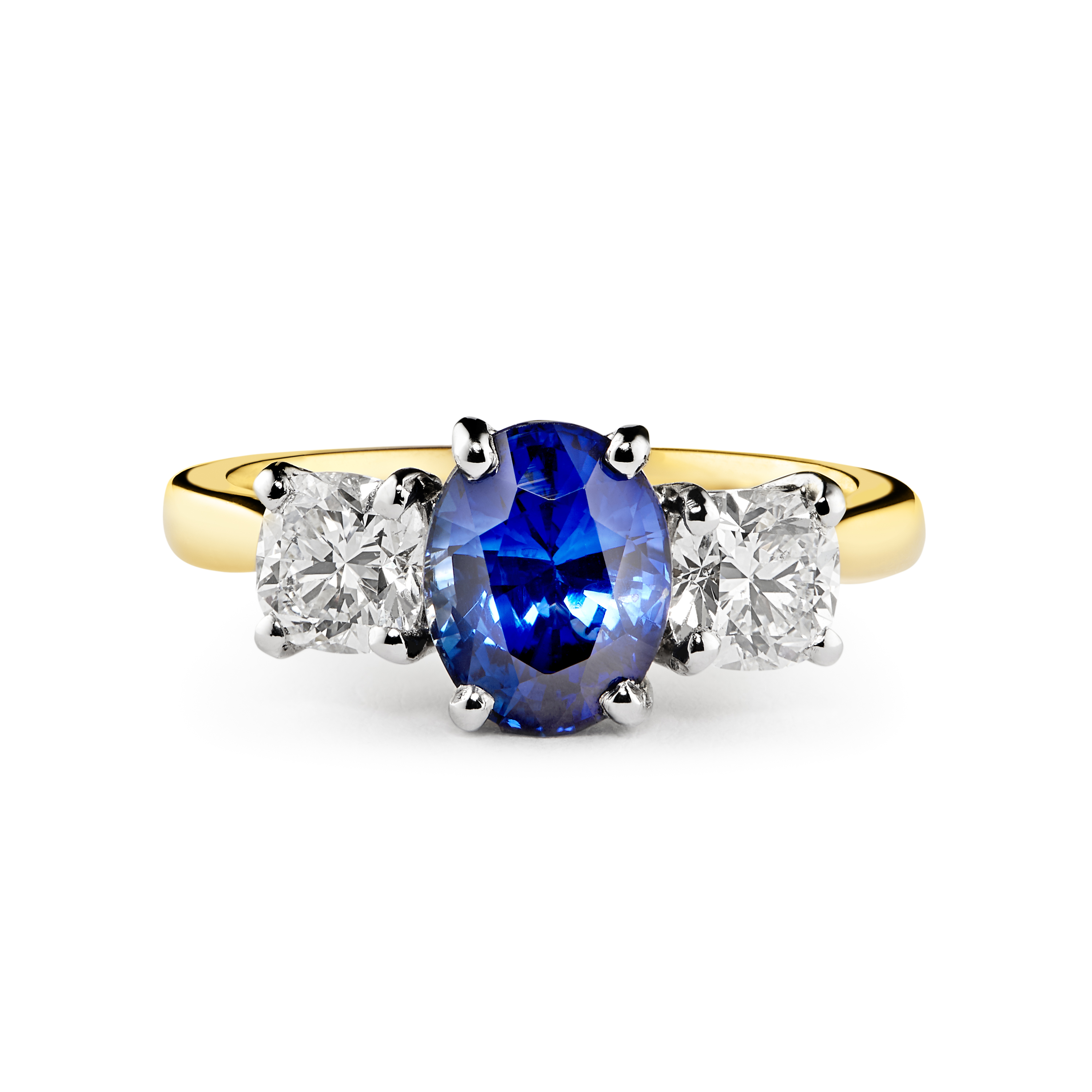 18ct Two Colour Sapphire and Diamond Three Stone Ring