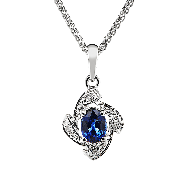 Unusual 18ct White Gold Sapphire and Diamond Pendant-0