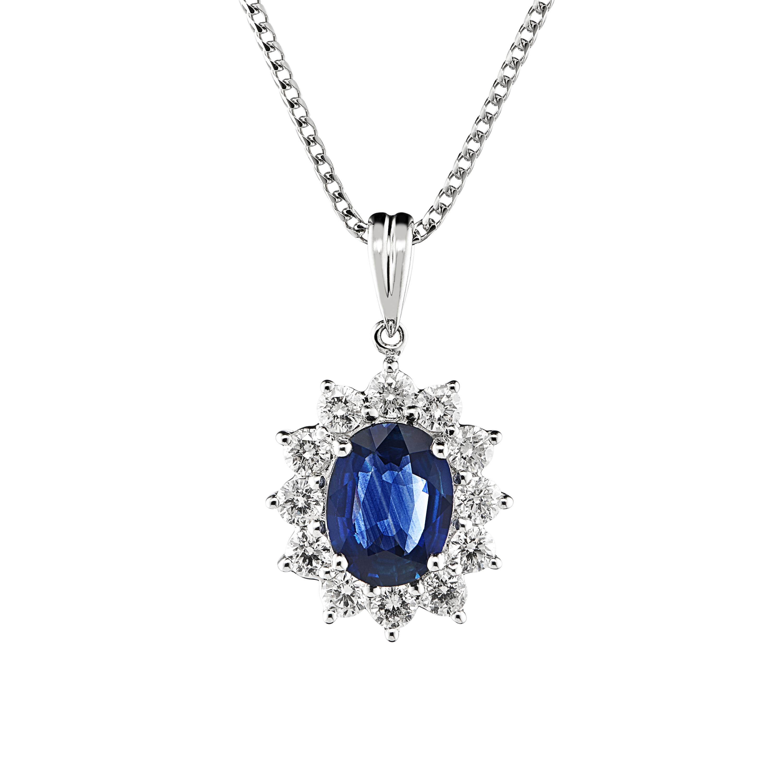 18ct White Gold Sapphire and Diamond Pendant-0