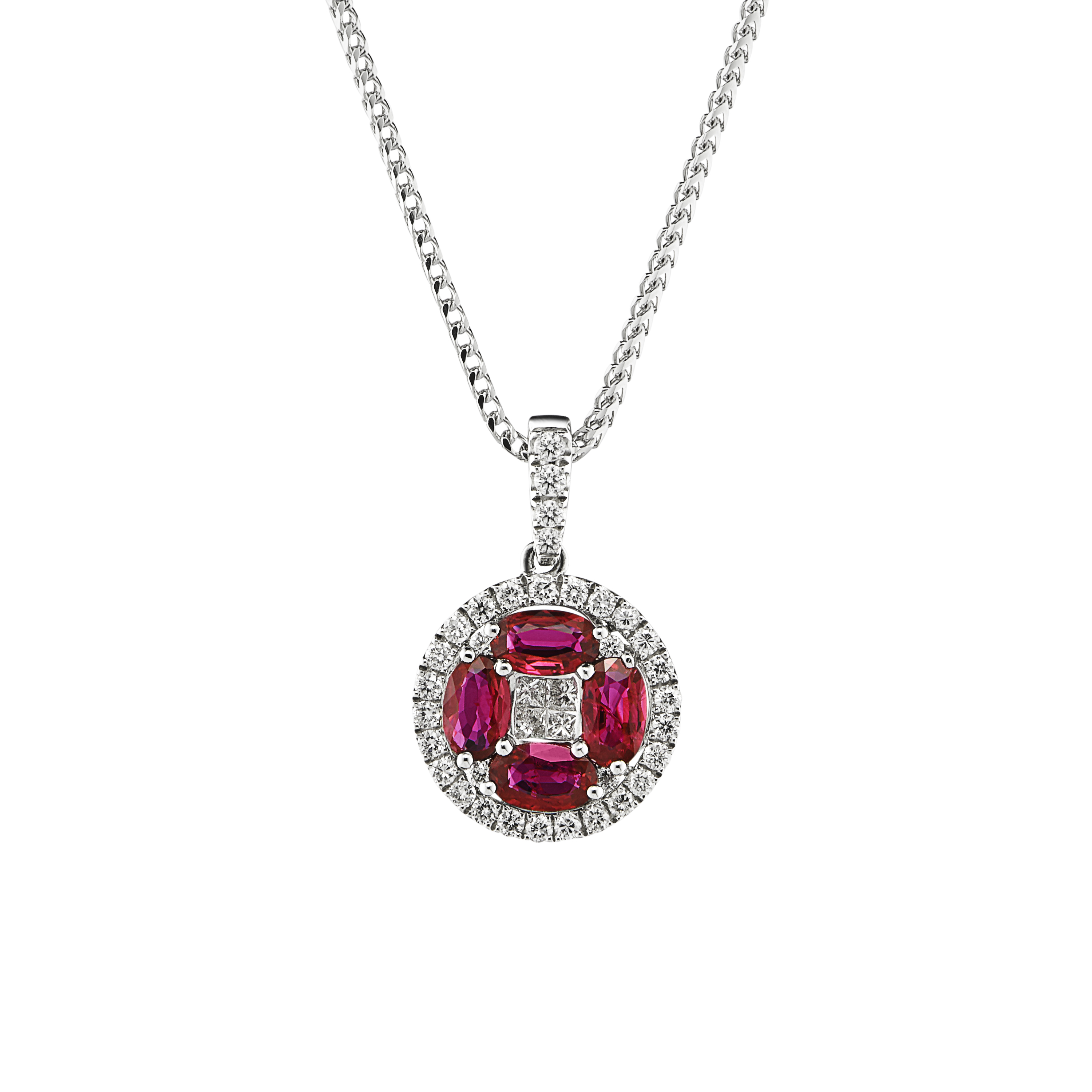 Circular 18ct White Gold Ruby and Diamond Cluster Pendant-0