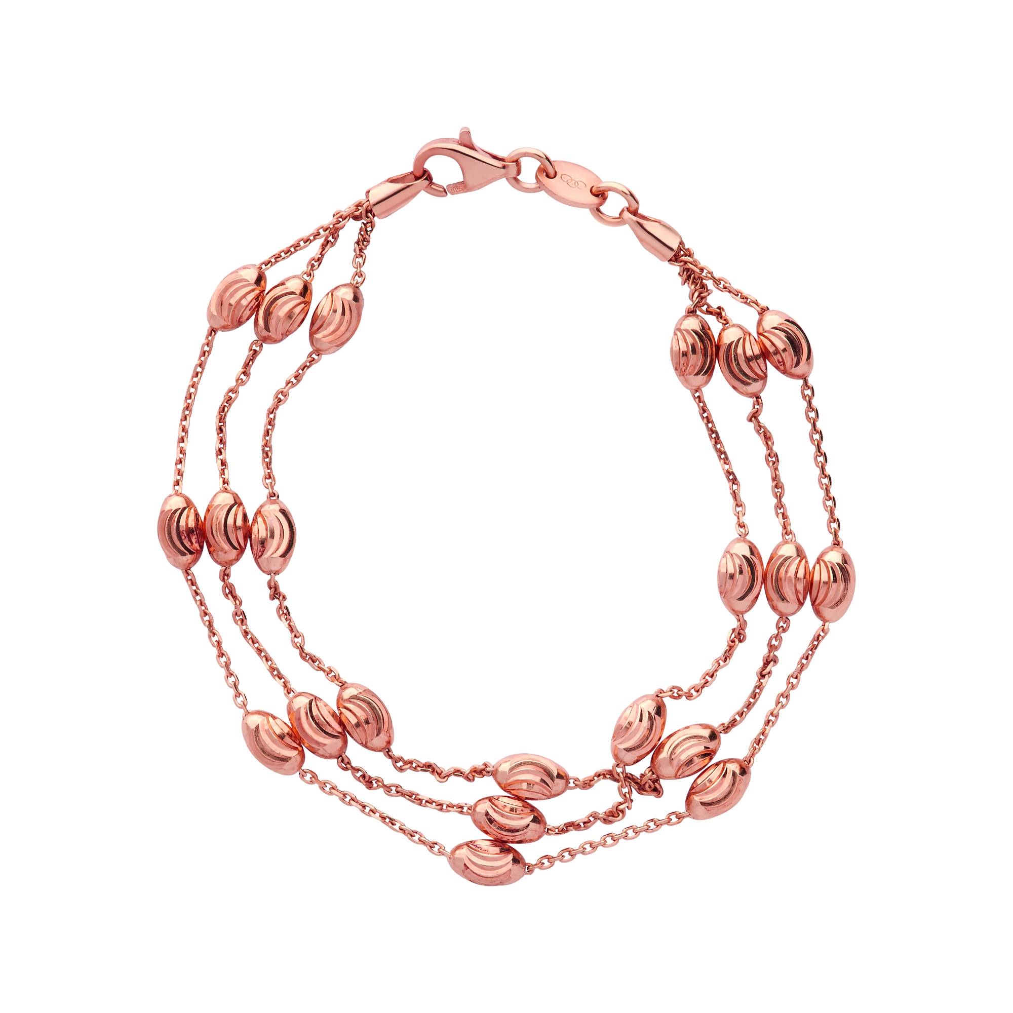 Links of London Essentials Beaded Rose Gold Vermeil Three Row Bracelet-0
