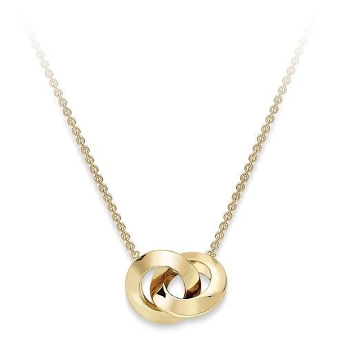 9ct Yellow Gold Small Double Hoop Design Pendant-0