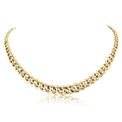 9ct Yellow Gold Fancy Curb Link Necklace-0