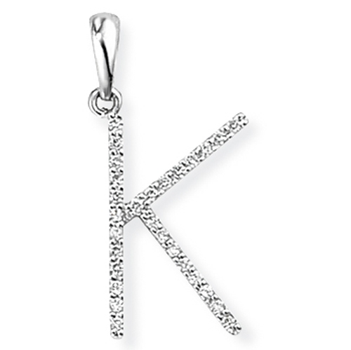 18ct White Gold Diamond Initial K Pendant-0