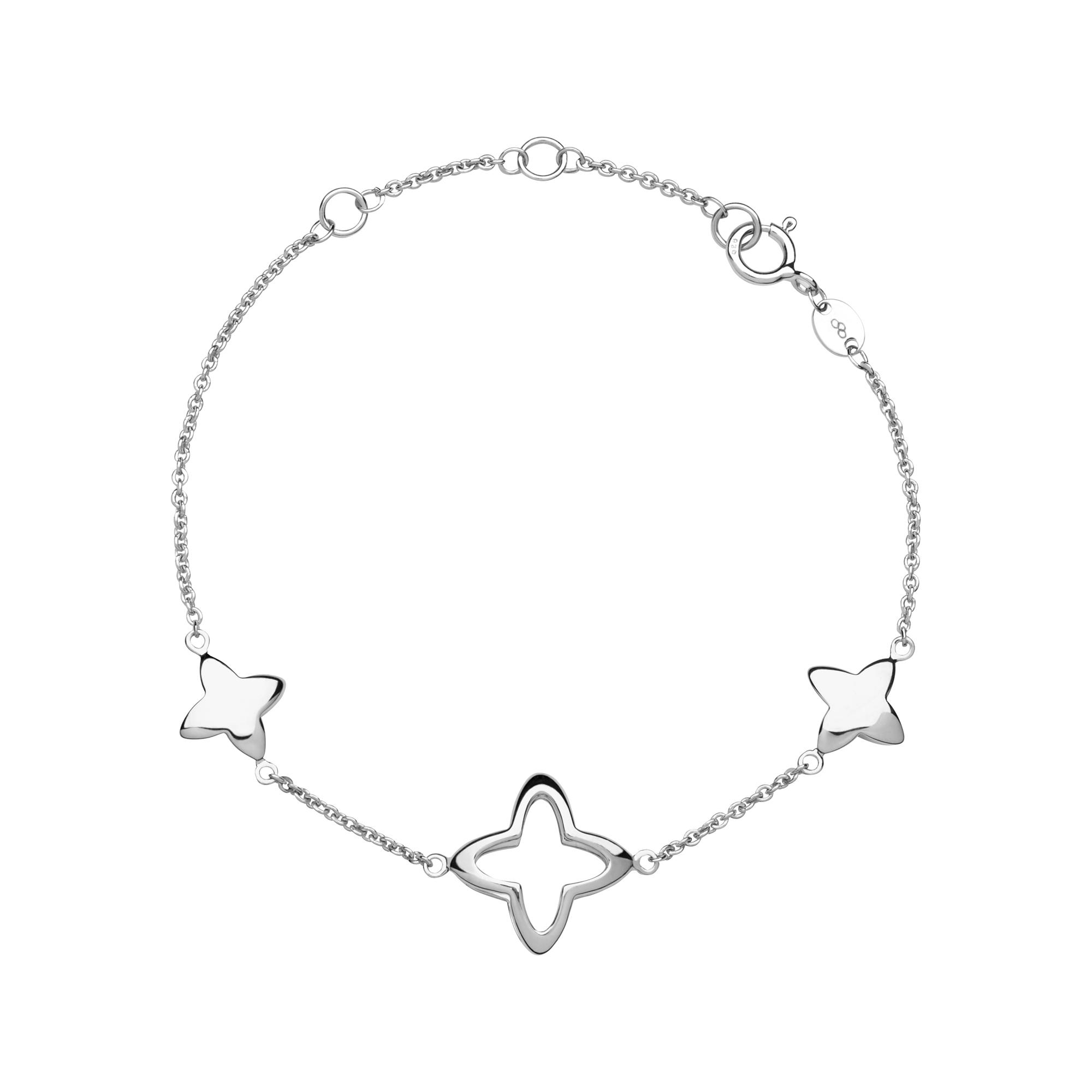 Links of London Splendour Sterling Silver Open Four-Point Star Station Bracelet-0