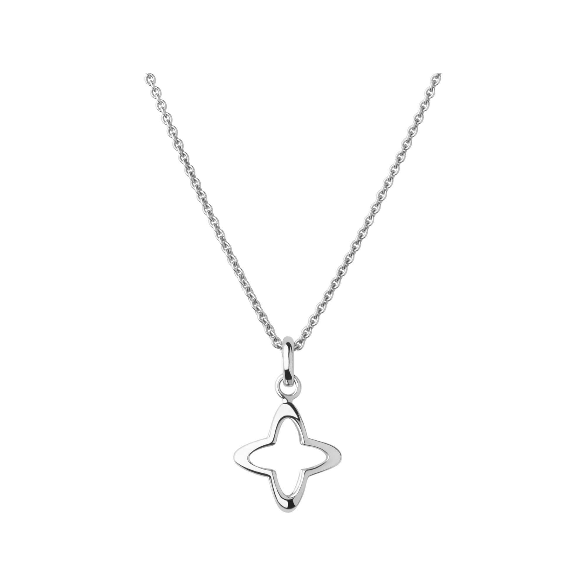 Links of London Splendour Sterling Silver Open Four-Point Star Necklace-0