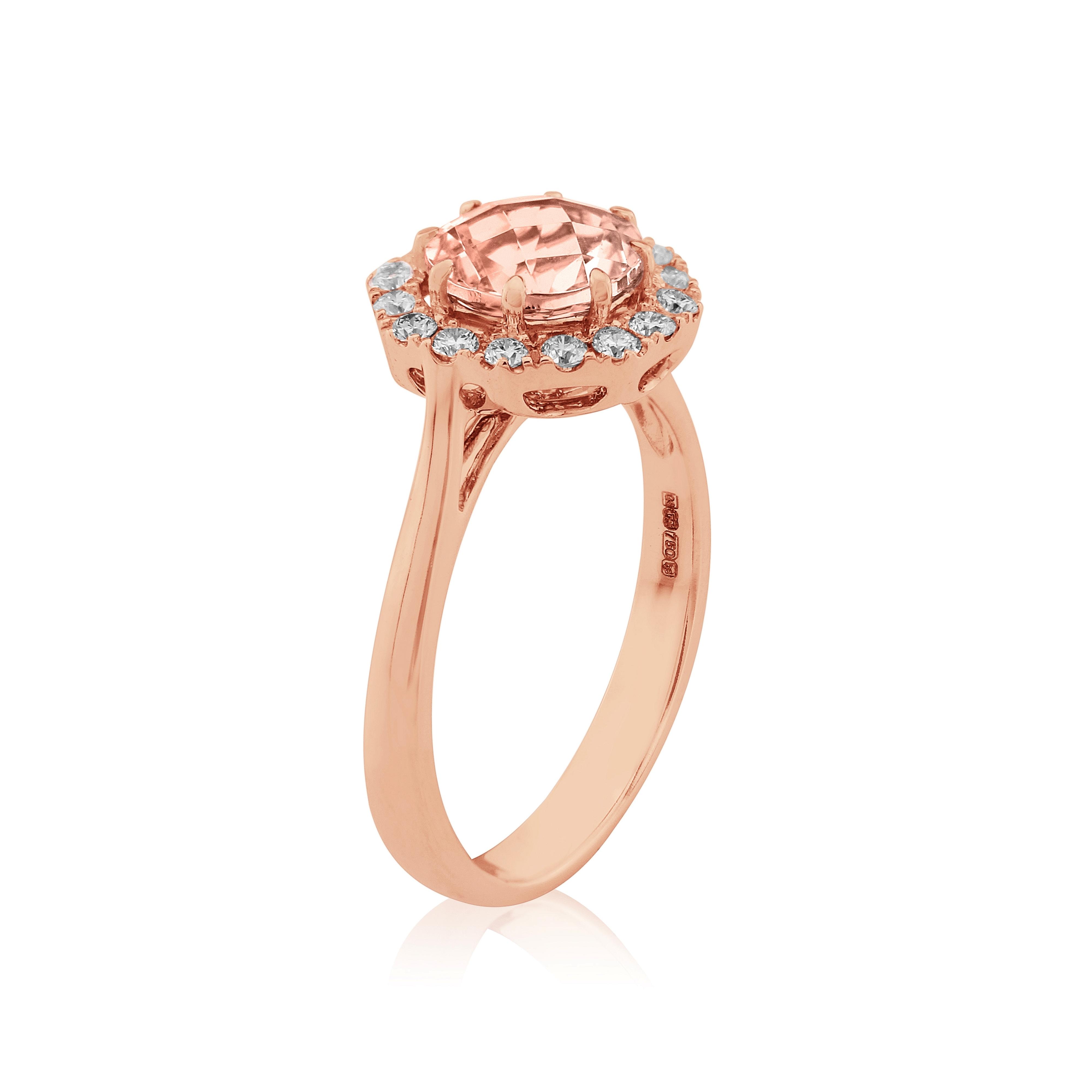 18ct Rose Gold Morganite and Diamond Ring