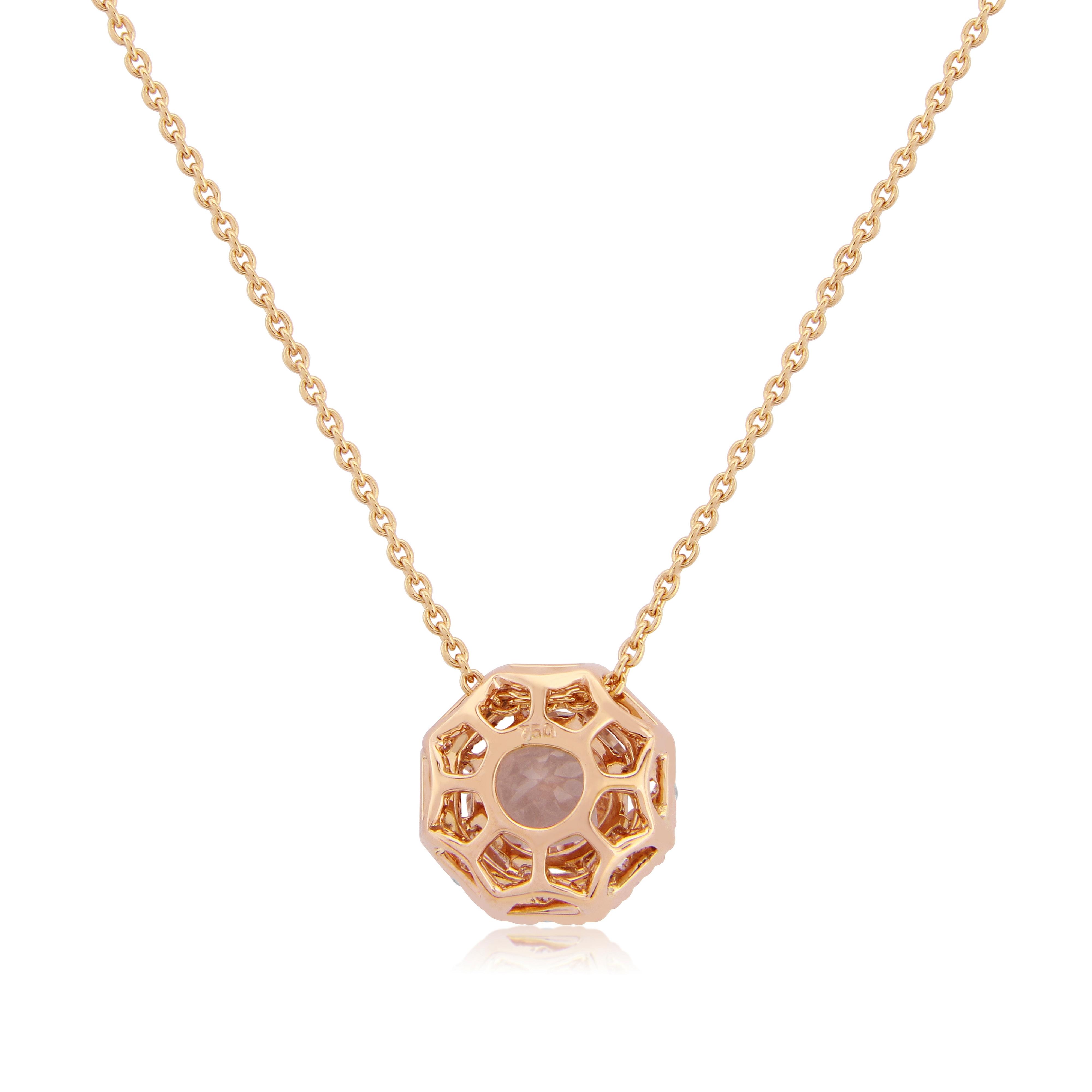 18ct Rose Gold Morganite and Diamond Pendant-1217