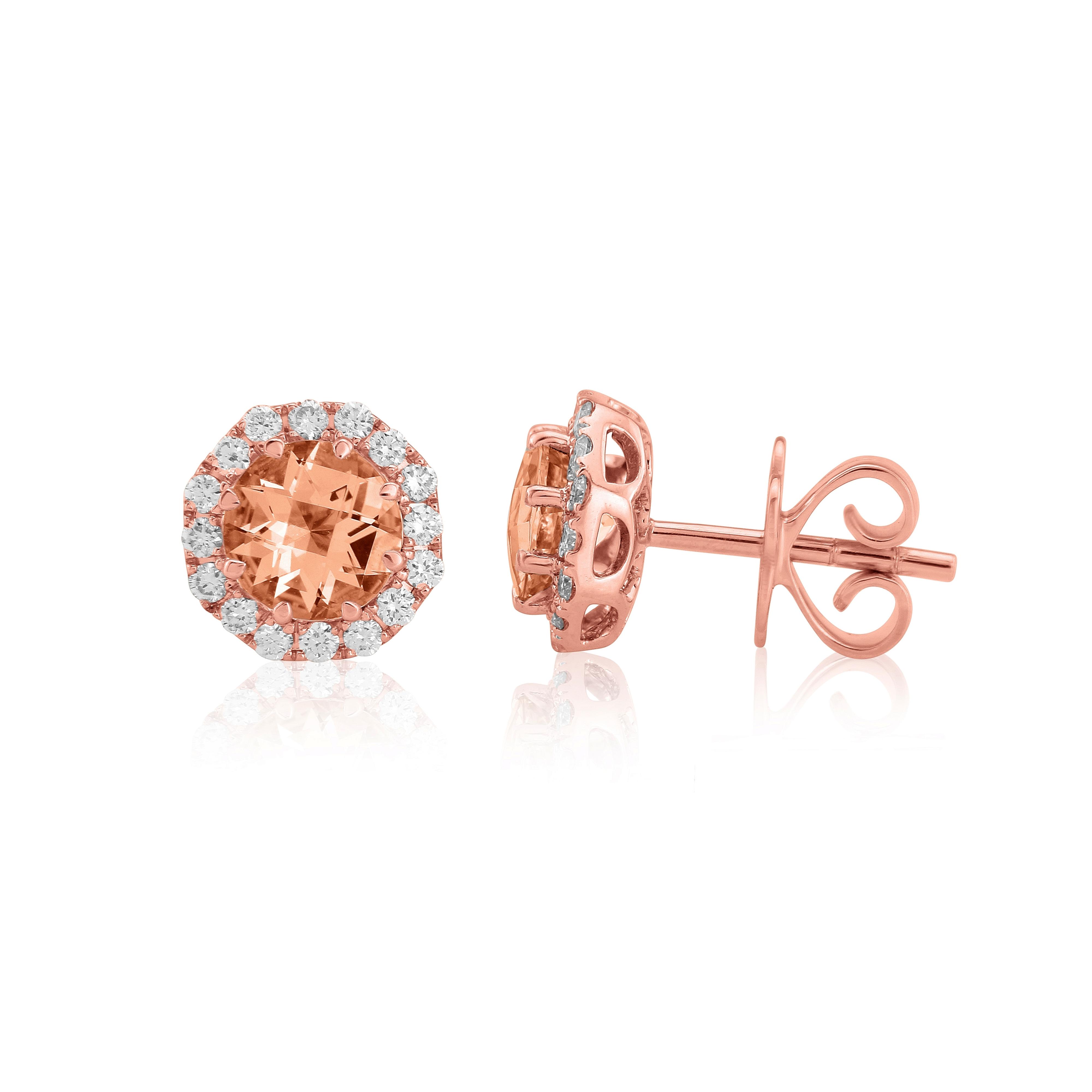 18ct Rose Gold Morganite and Diamond Earrings-0