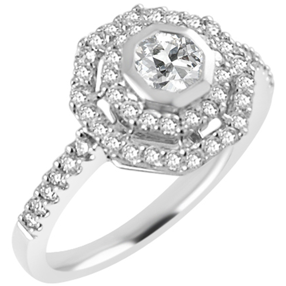 Unusual Design 18ct White Gold Diamond Cluster Ring