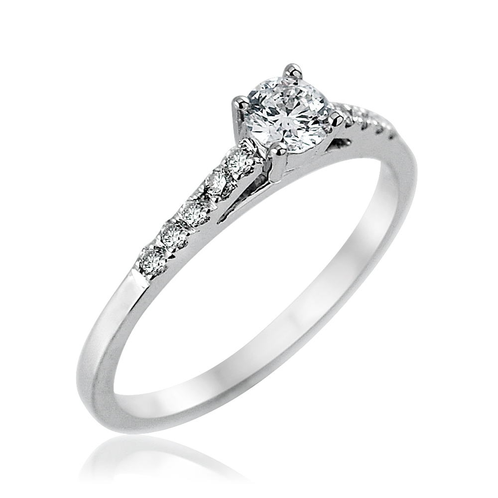 Platinum Mounted Diamond Solitaire Ring with Diamond Set Shoulders