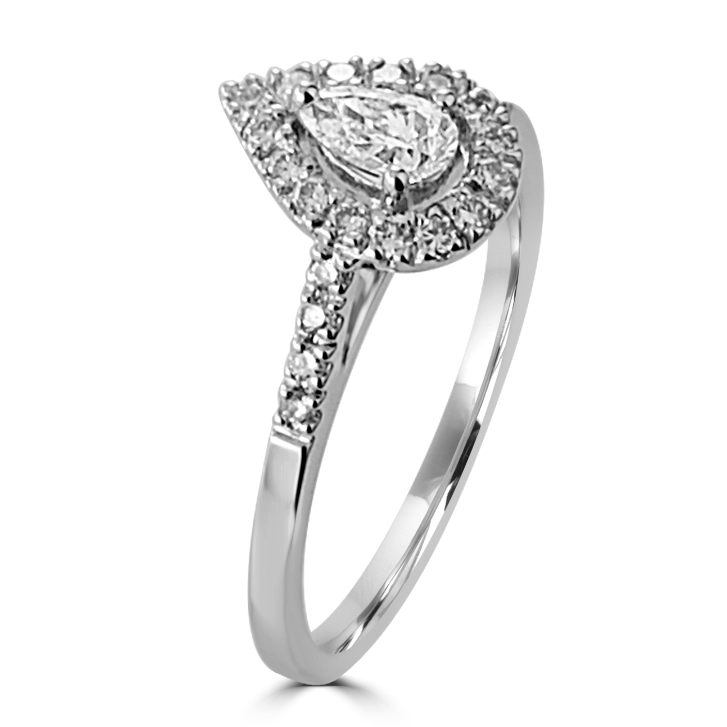 Stunning Pear Shaped Halo Design Engagement Ring
