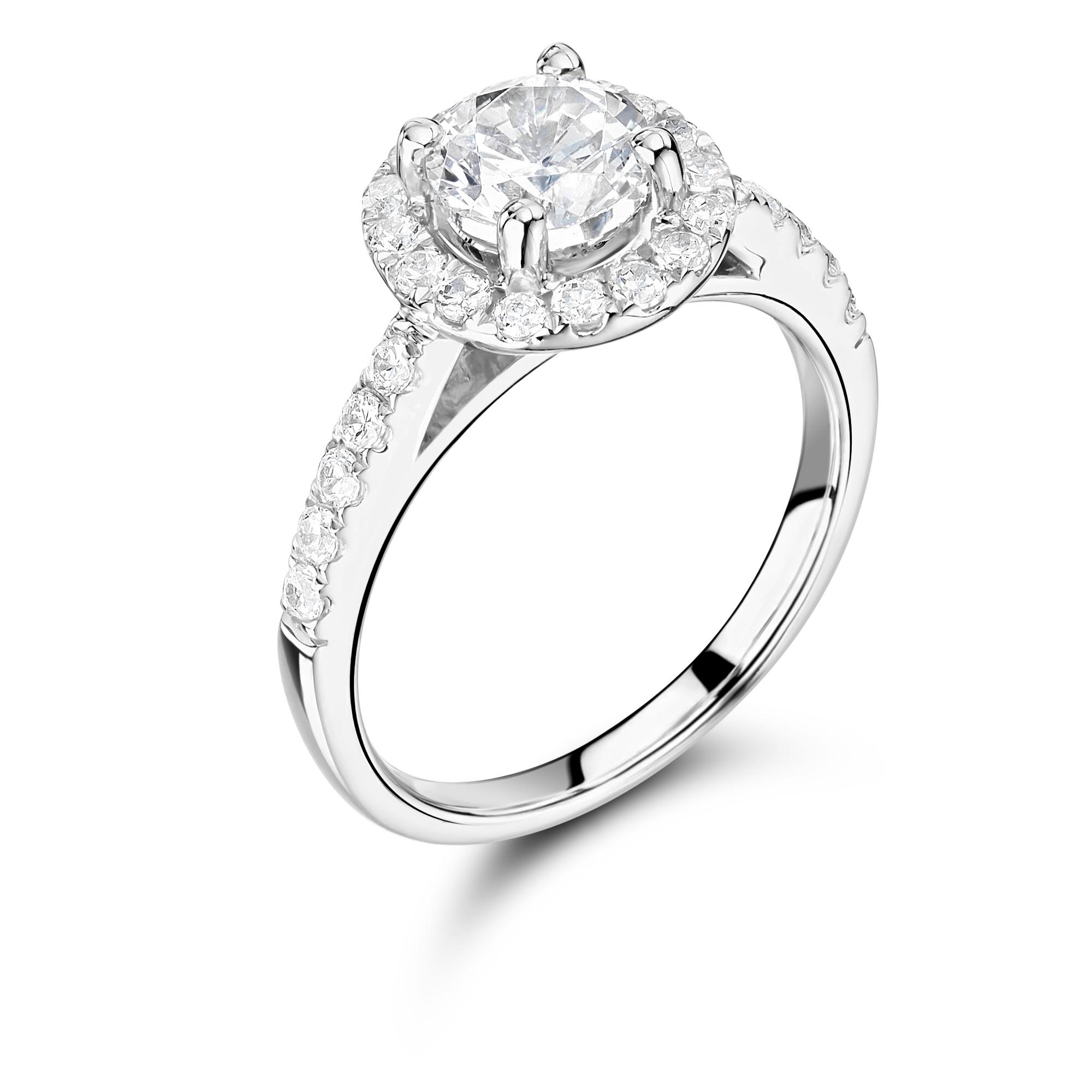 Brilliant Cut Halo Design Engagement Ring