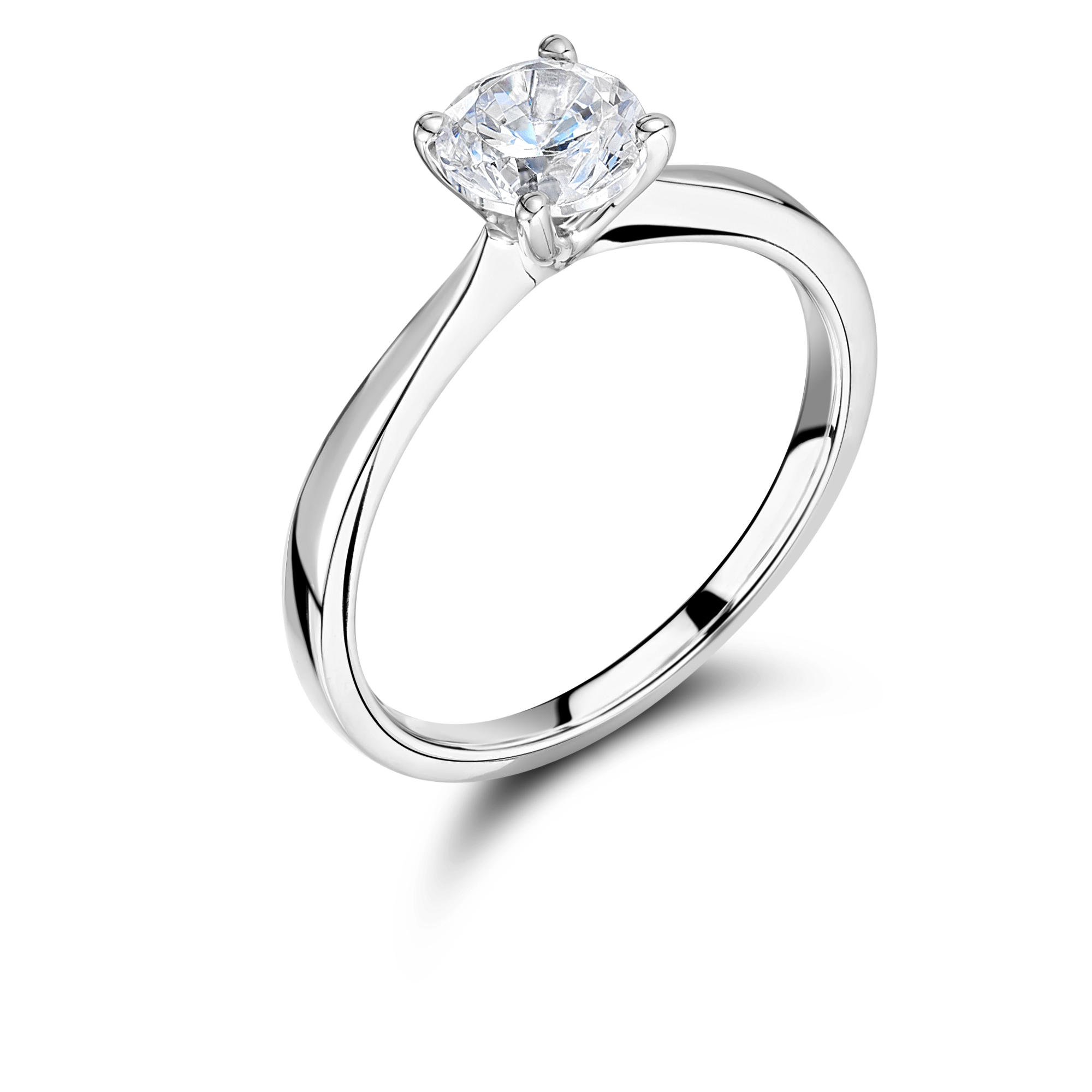 18ct Yellow Gold Four Claw Diamond Solitaire Ring-0