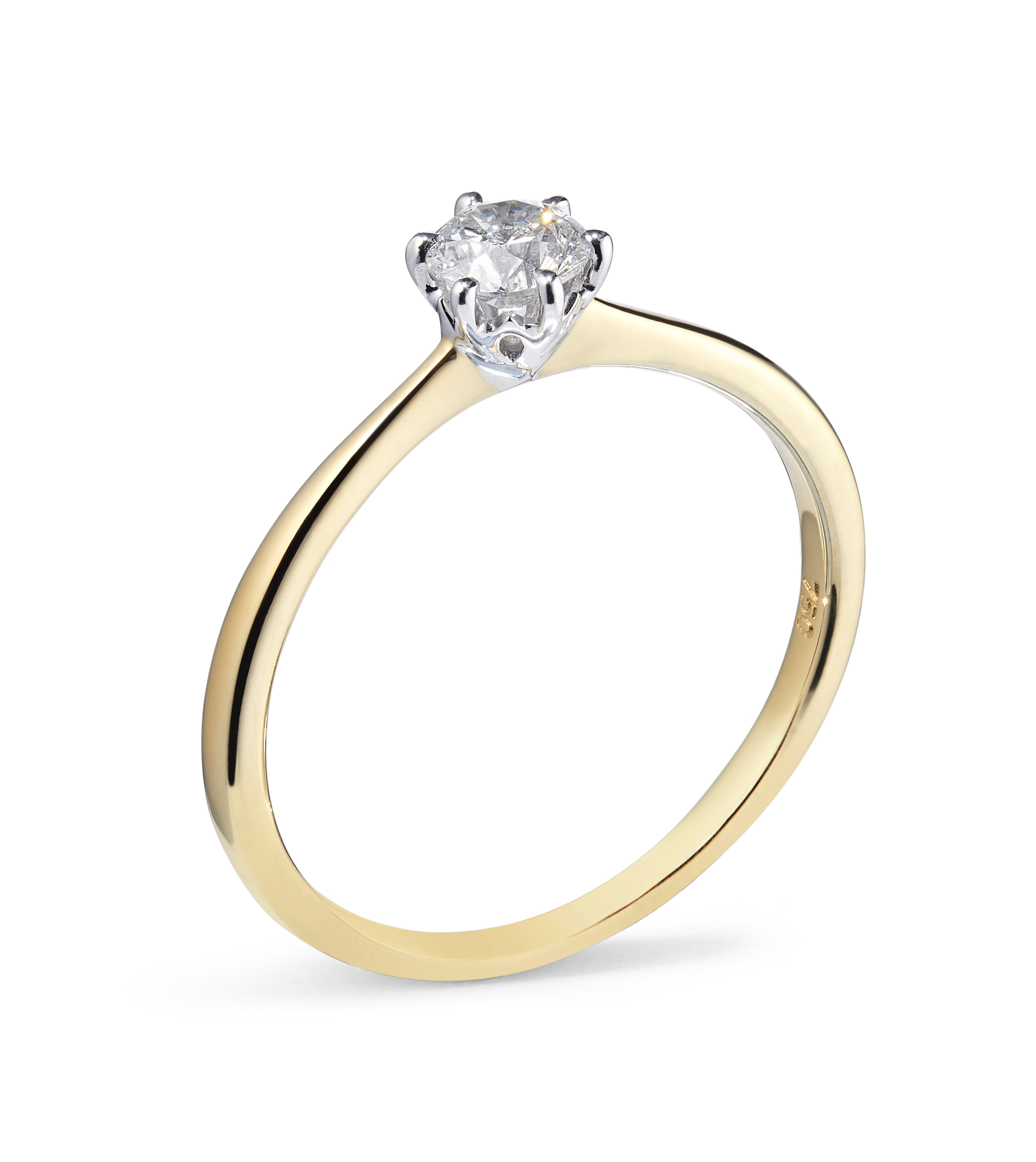 0.32ct Six Claw Solitaire Ring in 18ct Yellow and White Gold