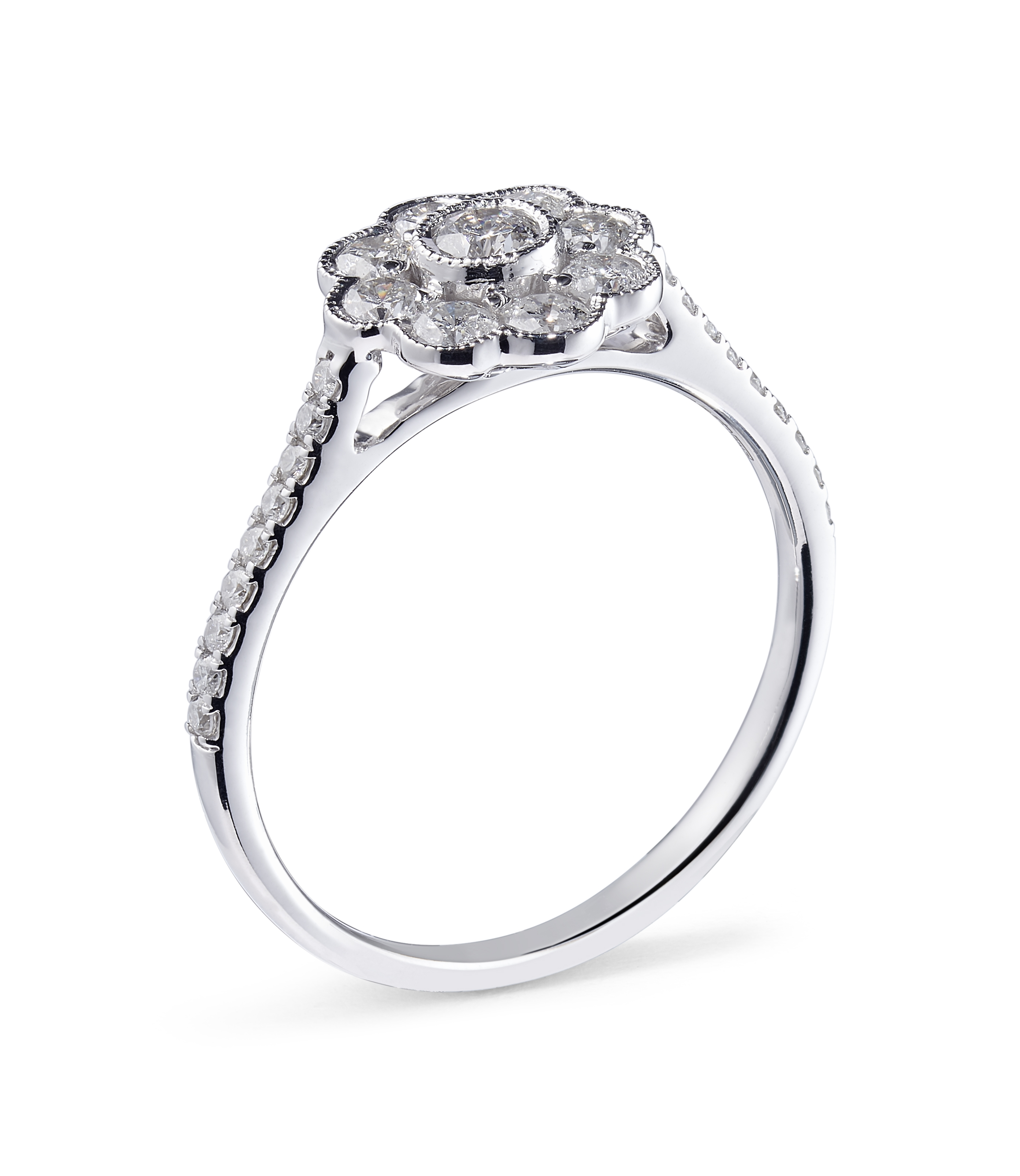 18ct White Gold Diamond Cluster Ring with Millgrain Detail