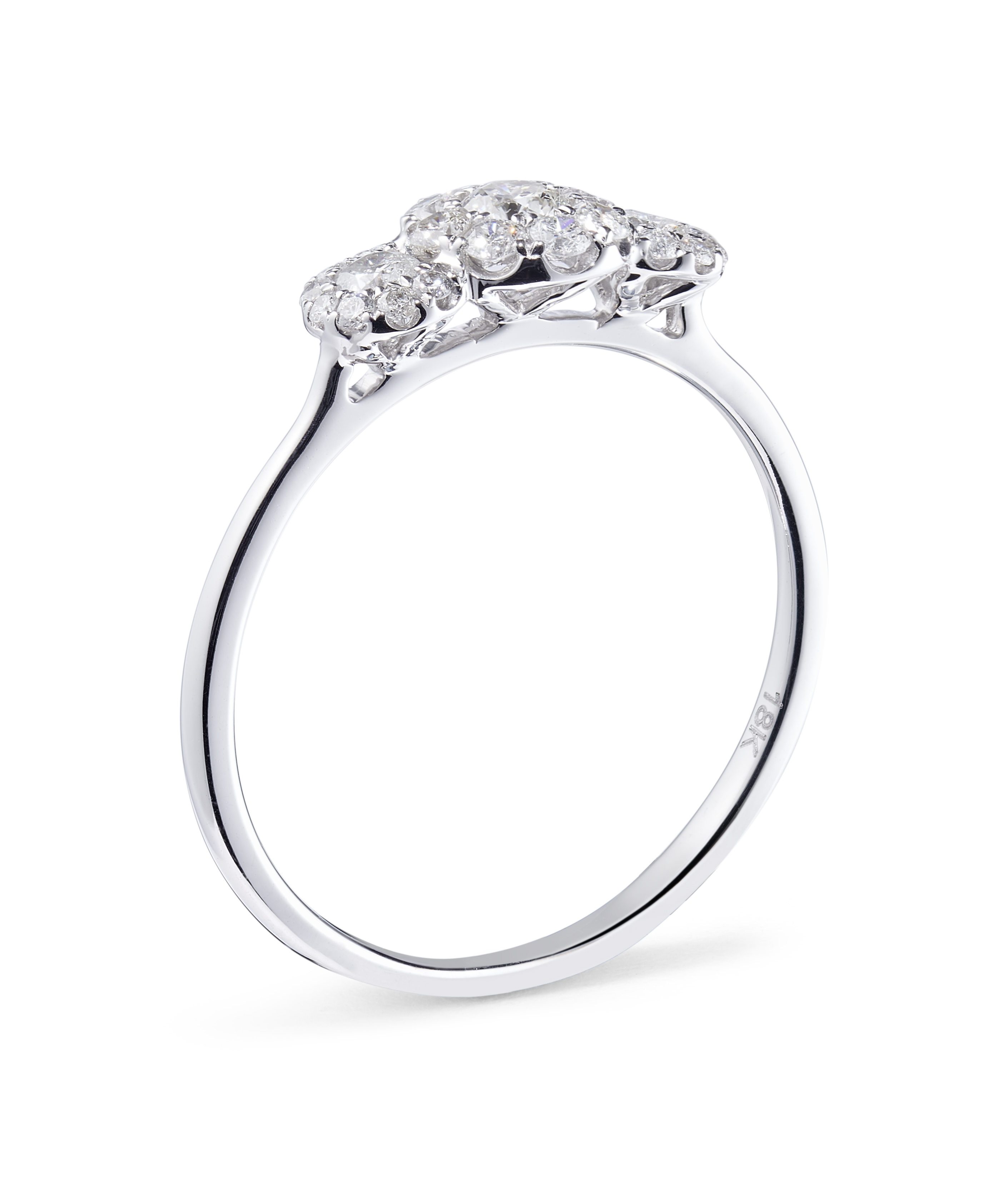 18ct White Gold Triple Cluster Diamond Ring