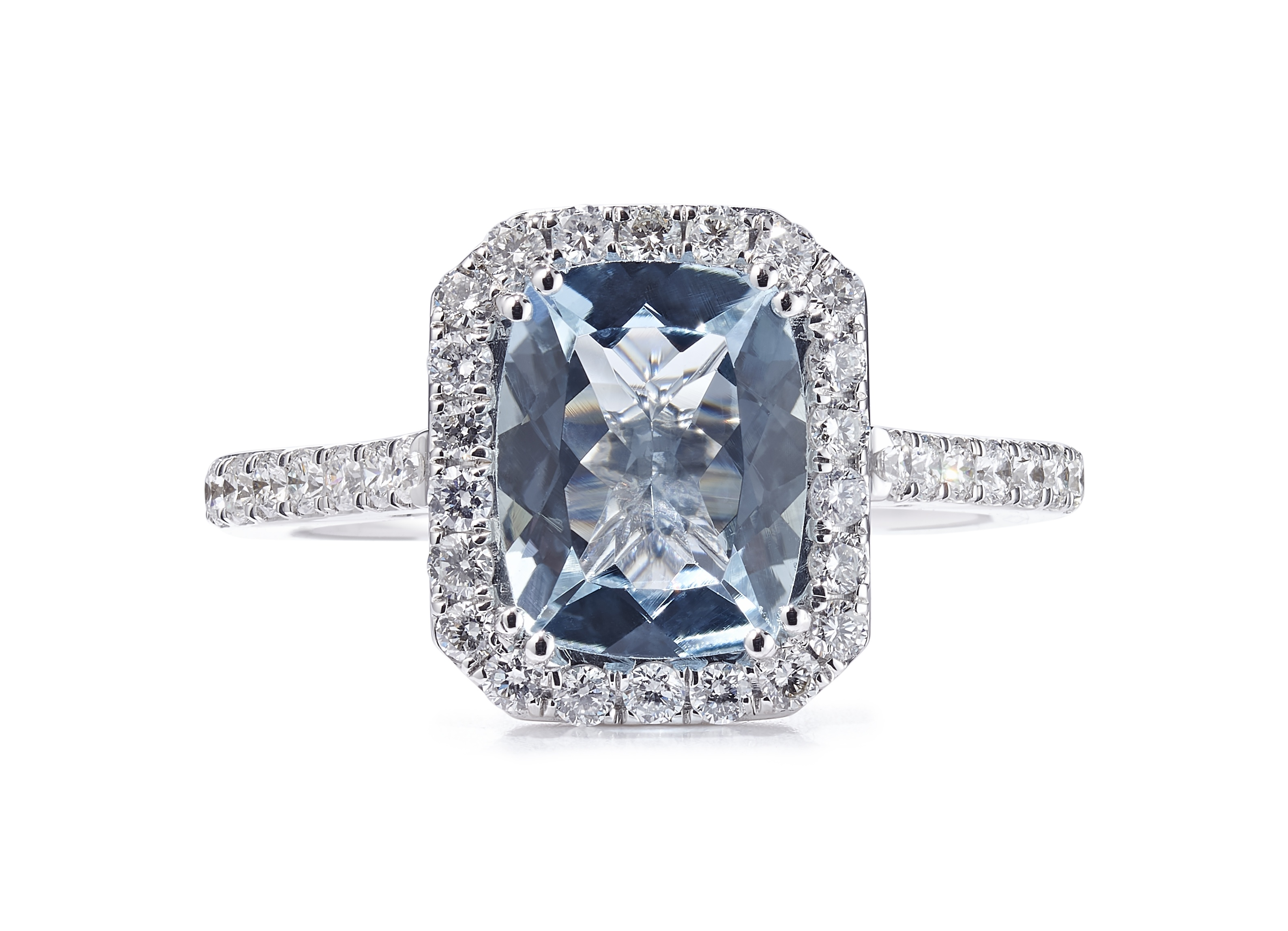 18ct White Gold Aquamarine and Diamond Halo Design Ring