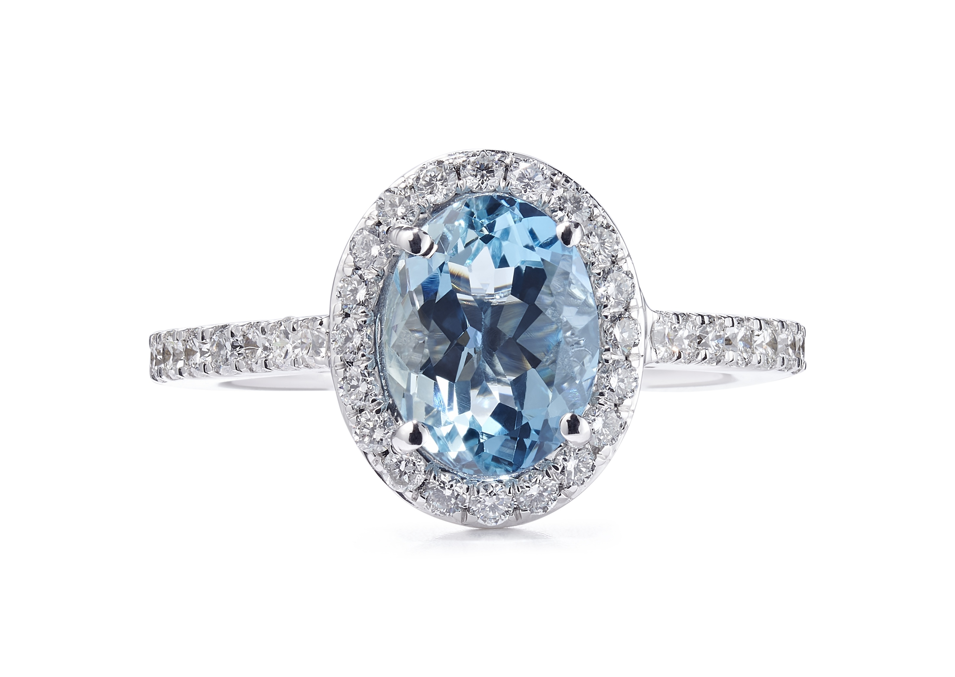 18ct White Gold Aquamarine and Diamond Oval Halo Design Ring