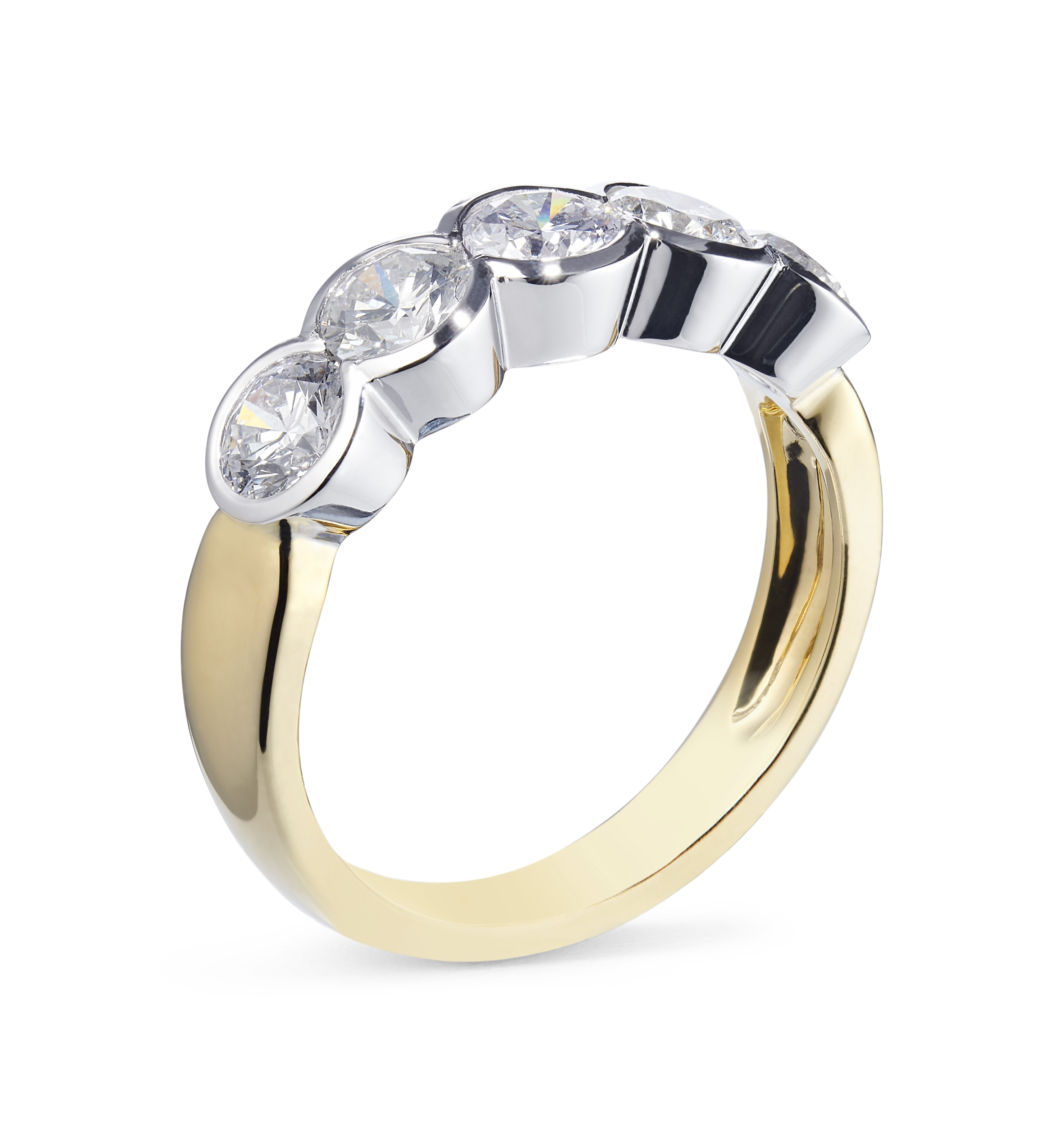 18ct Yellow and White Gold 5 Stone 1.83ct Rubover Diamond Ring