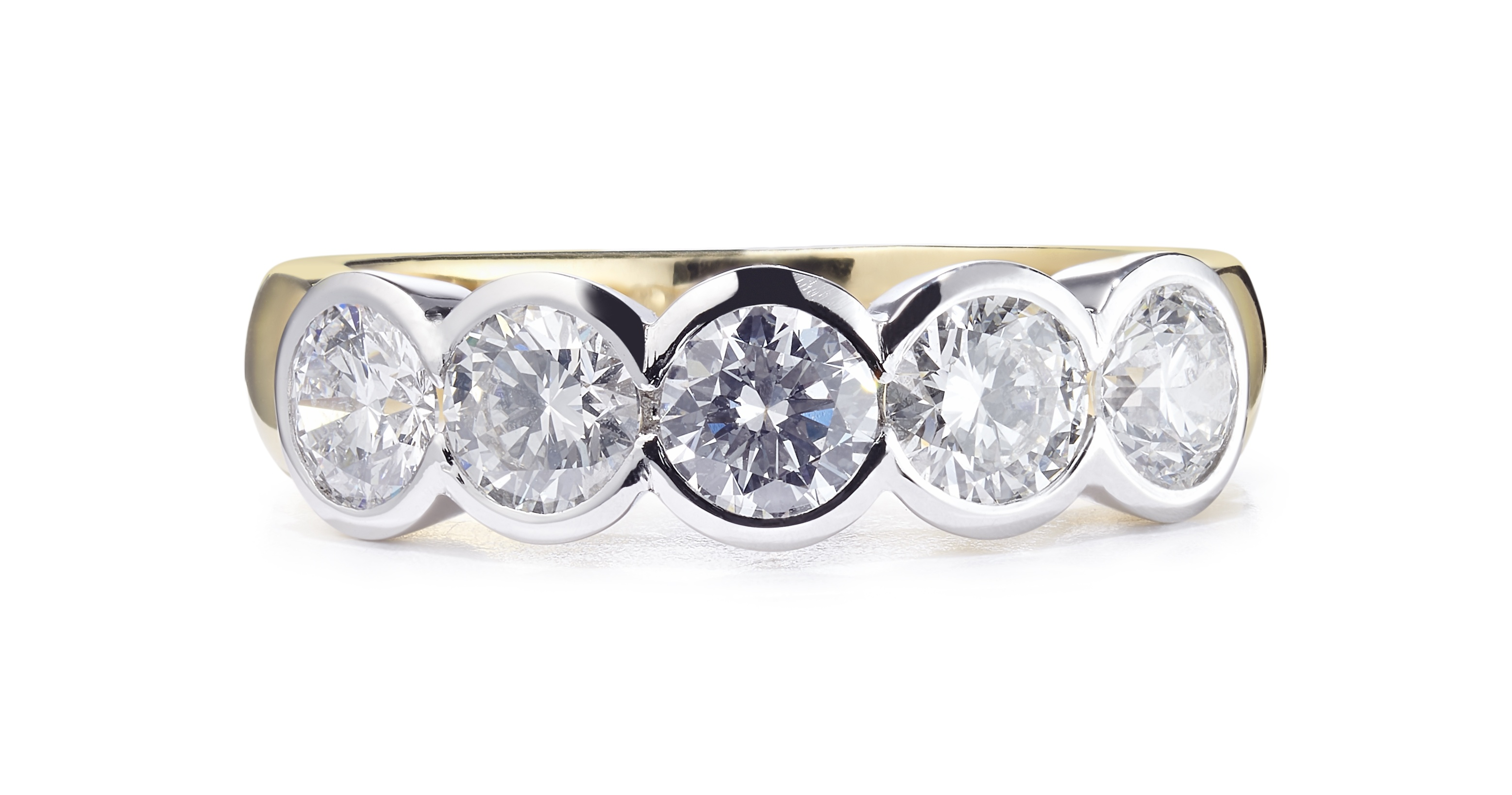 1.46ct 18ct Yellow and White Gold 5 Stone Rubover Diamond Ring