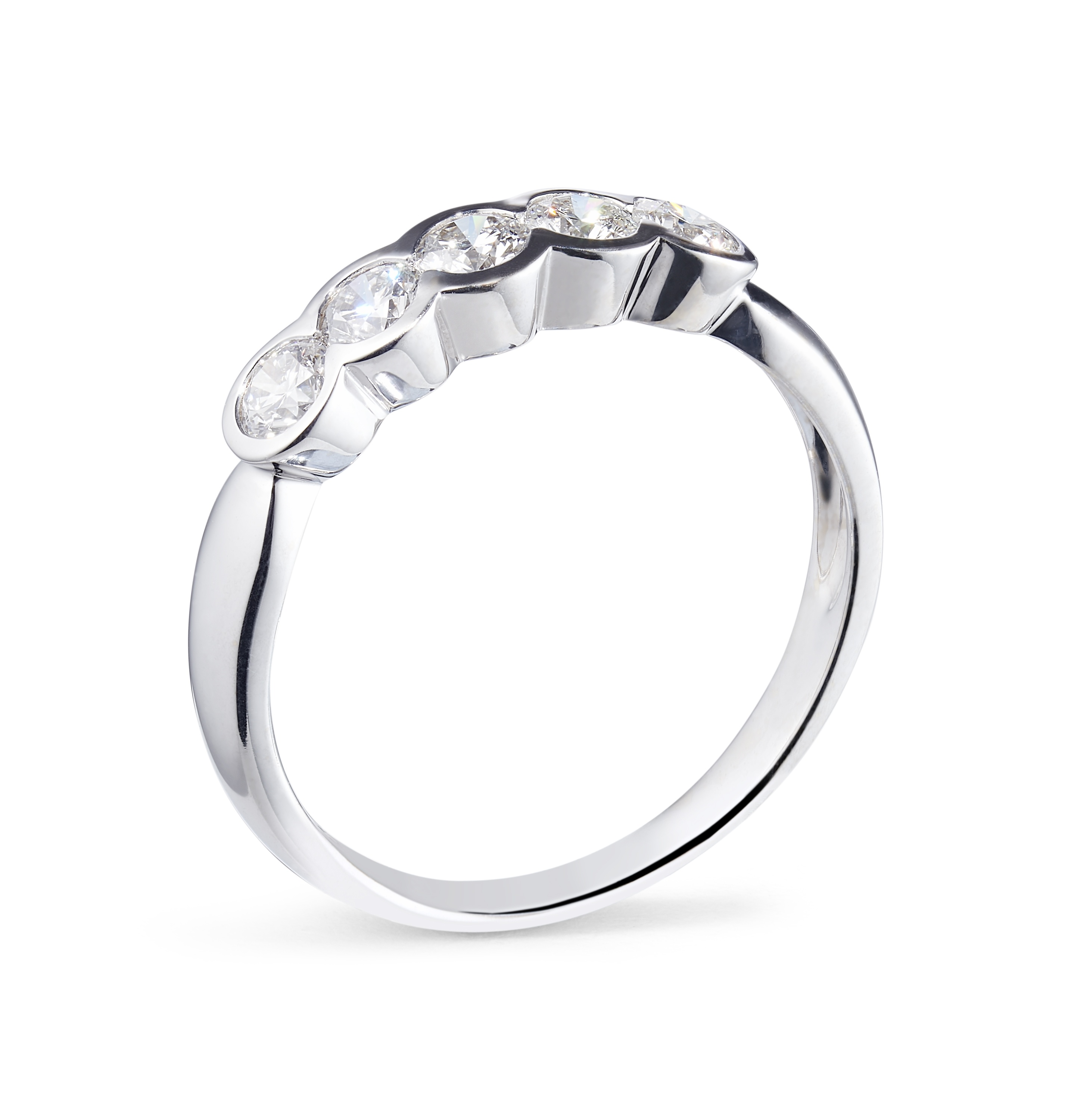 0.65ct 18ct Yellow and White Gold 5 Stone Rub-over Ring