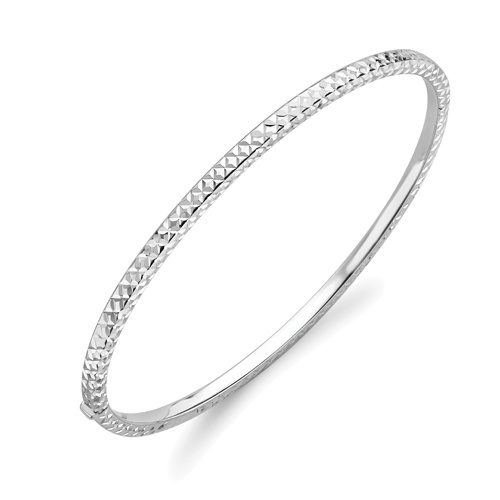 9ct White Gold Diamond Cut Bangle-0