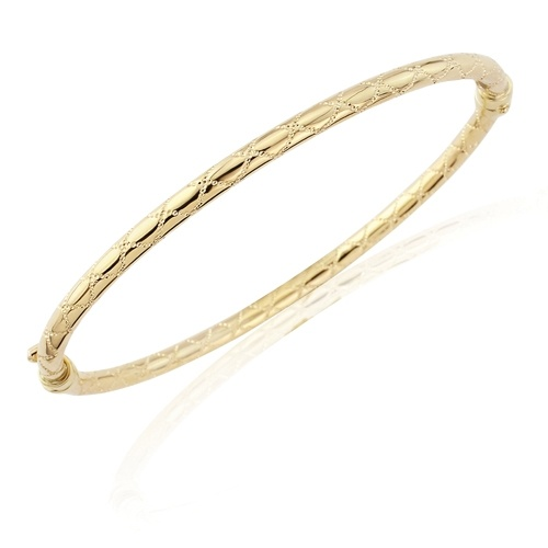 9ct Yellow Gold Rounded and Patterned Bangle-0