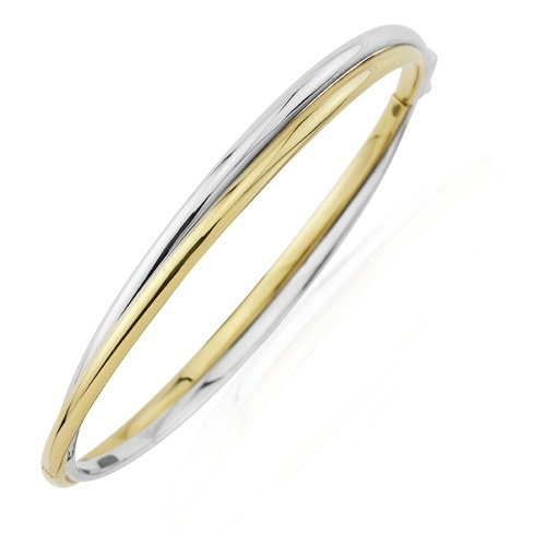 9ct White Gold and Yellow Gold Bangle-0