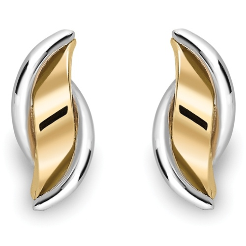 9ct Yellow and 9ct White Gold Wave Design Earrings-0