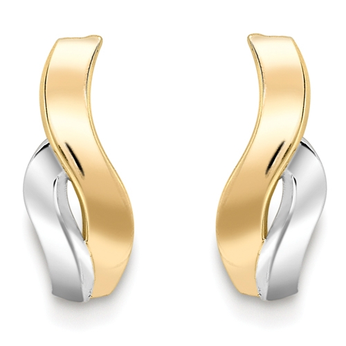 9ct White and Yellow Gold Wave Earrings-0