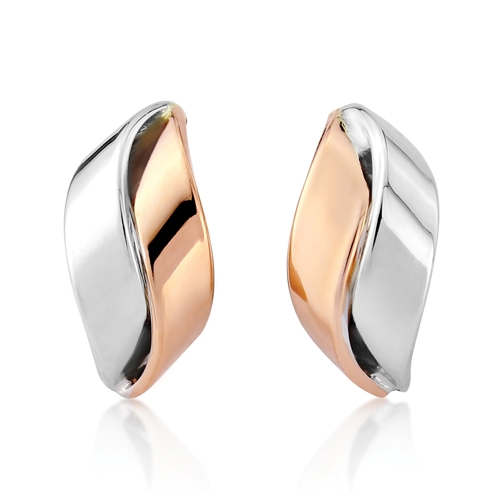 9ct White Gold and 9ct Rose Gold Earrings