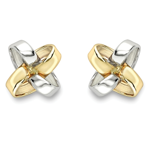 9ct Two Colour Twist Design Stud Earrings-0