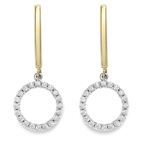 9ct Two Colour CZ Drop Earrings-0
