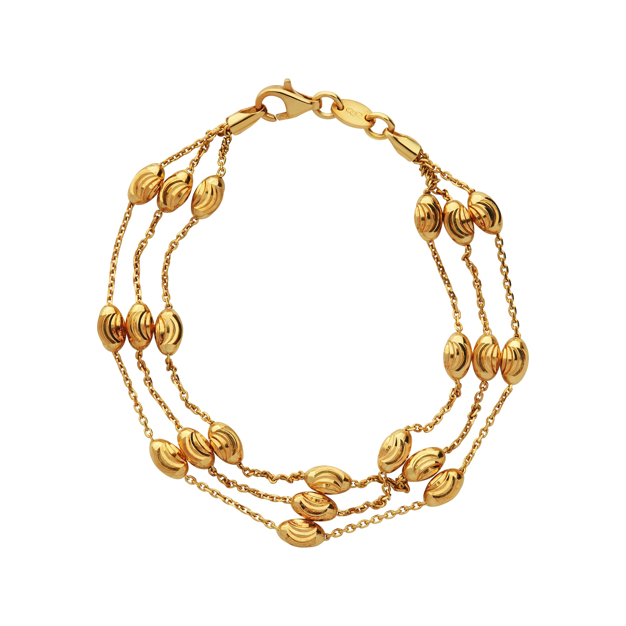 Links of London Essentials Yellow Gold 3 Row Bracelet