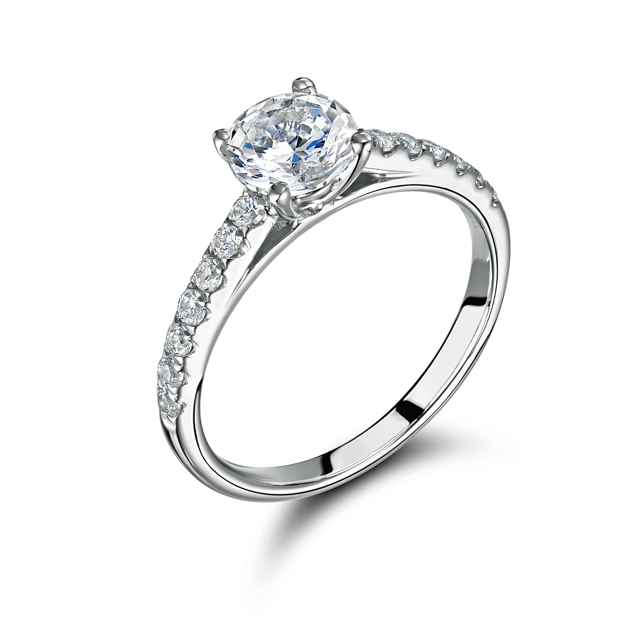 0.33ct Certificated Diamond 18ct White Gold Solitaire Ring With Diamond Shoulders-0