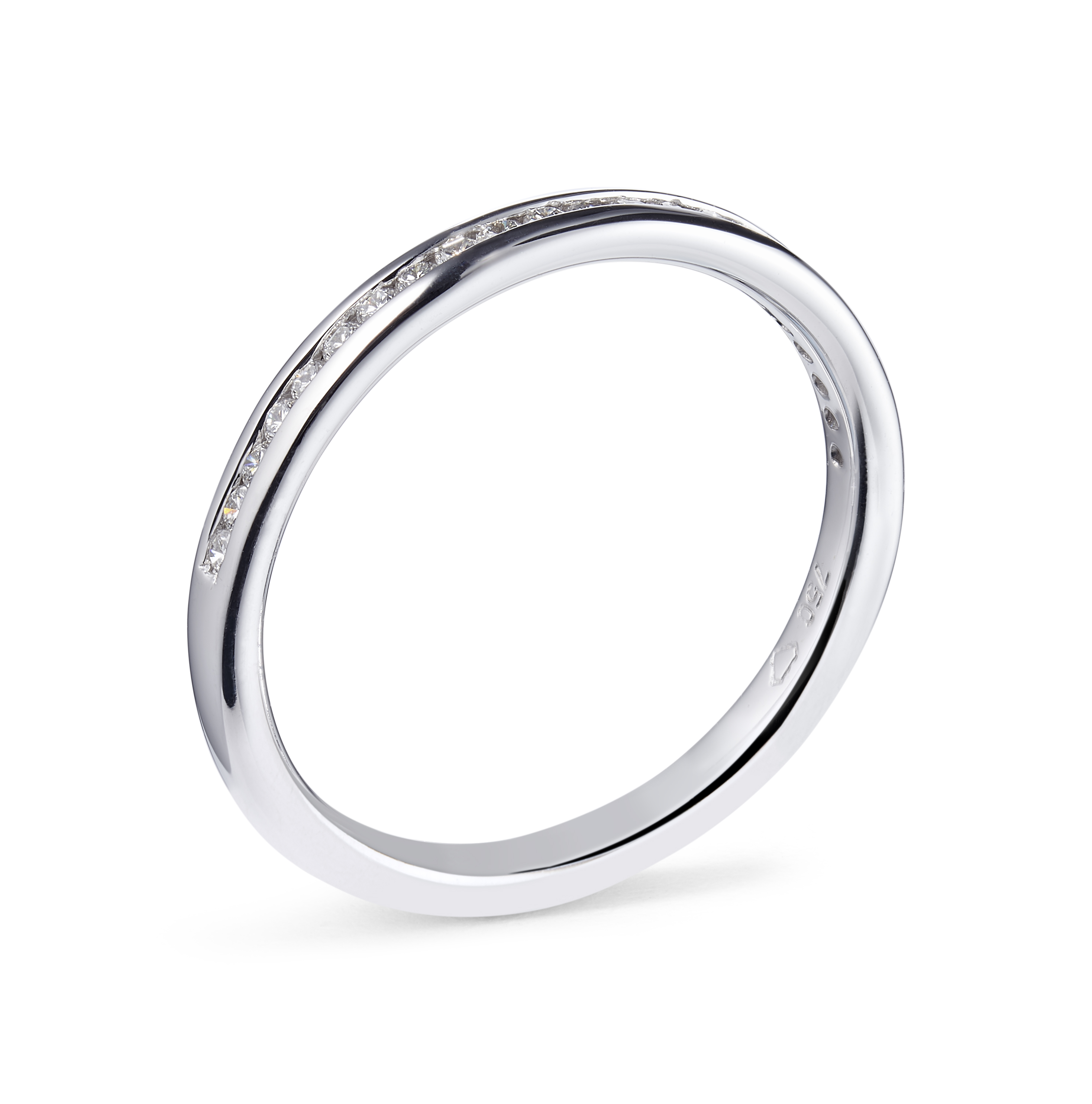 0.19ct 18ct White Gold Channel Set Ring – Size N