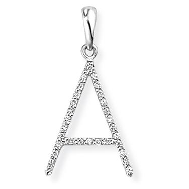 9ct White Gold Diamond Initial A