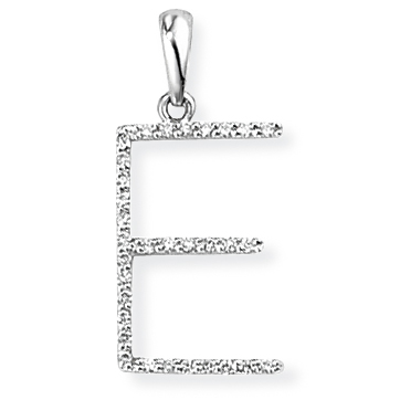 9ct White Gold Diamond Initial E