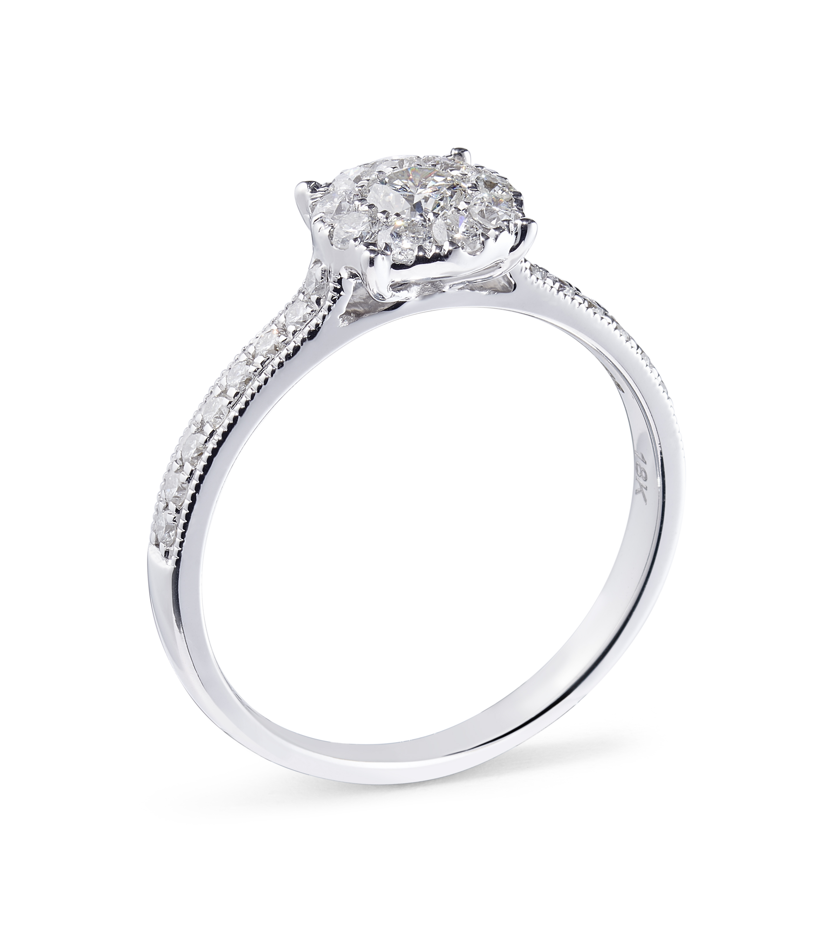 18ct White Gold Diamond Ring with Diamond Shoulders – 0.71ct